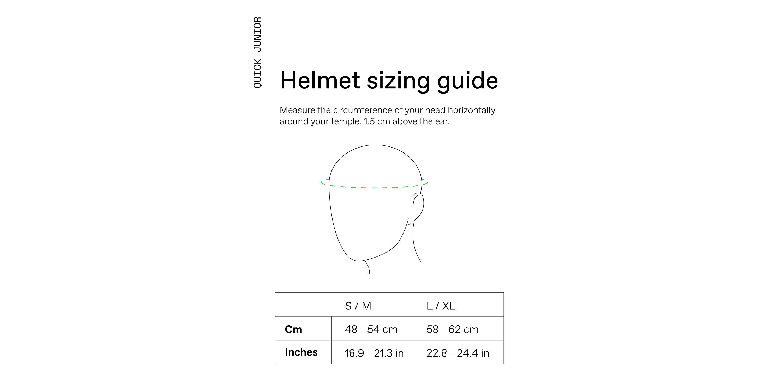 Cannondale Quick Junior Kids Helmet Sizing Guide